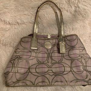 COACH F17213 Sig Striped Tartan Plaid Carryall Bag